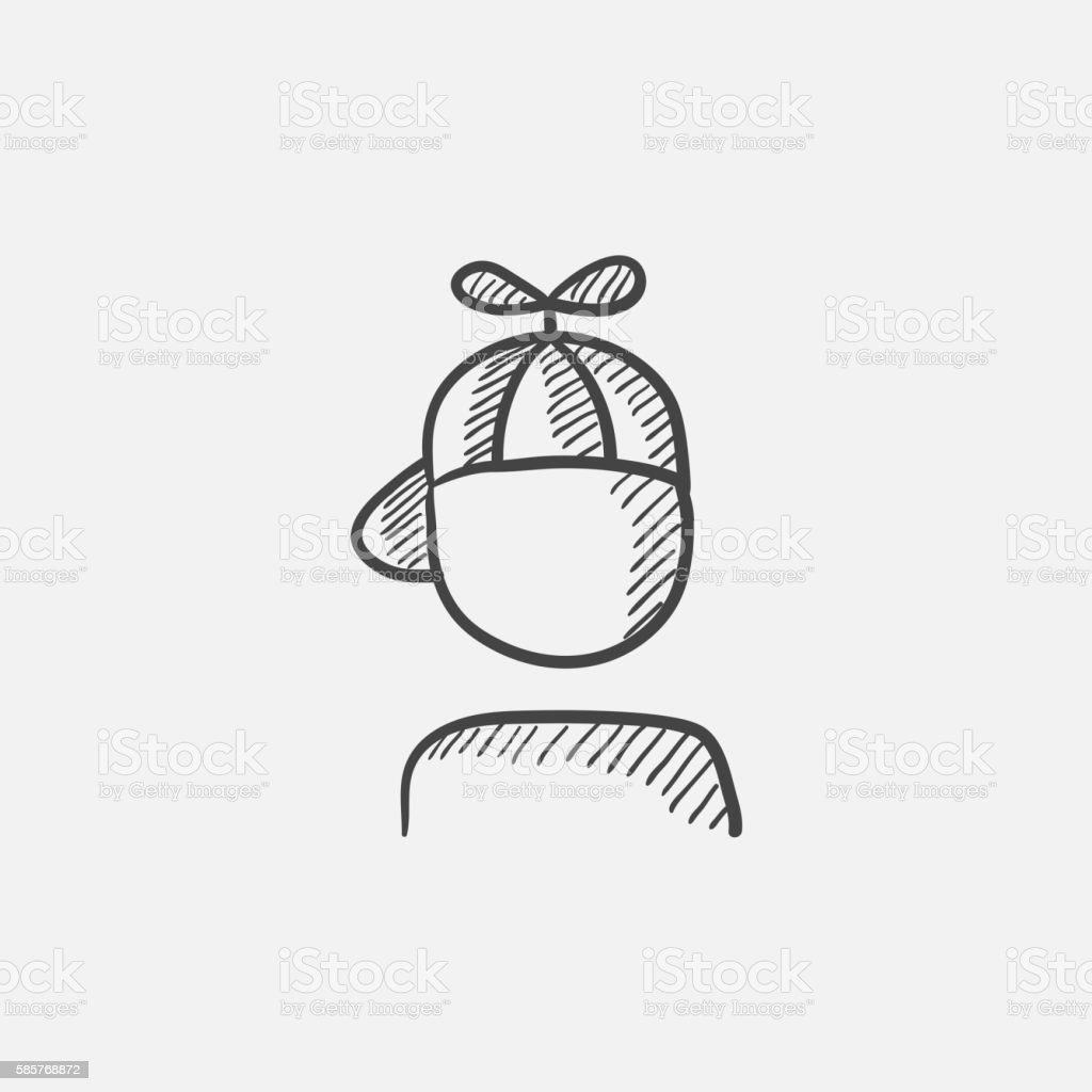 Boy In Cap With Propeller Sketch Icon Stock Vektor Art Und Mehr