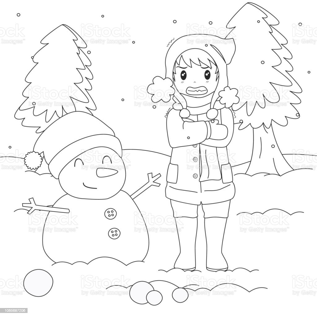 Ilustración De Niño En Clima Frío Para Colorear Página Vector