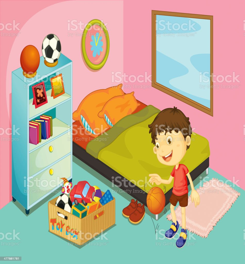 Nice Boy In His Bedroom Vector Art Illustration. Kindergarten Children Vector  Art Illustration