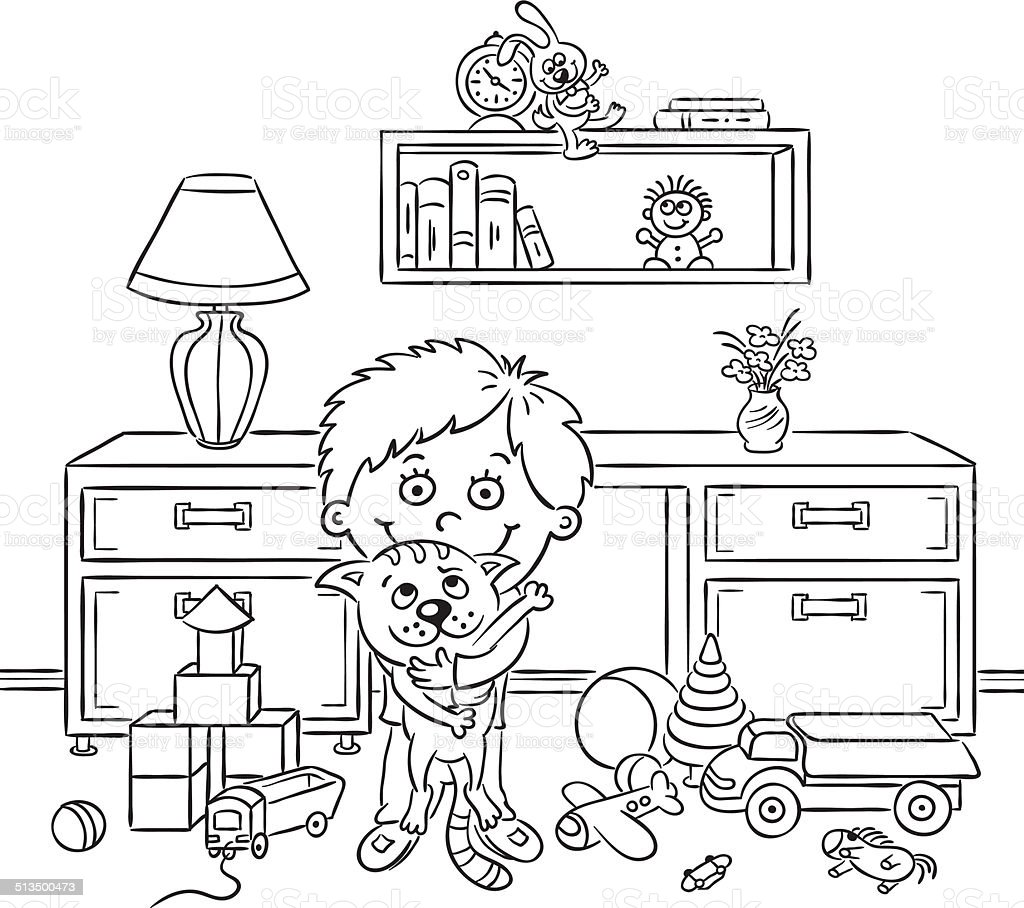 Boy in his room black and white stock vector art more for Cuarto para colorear
