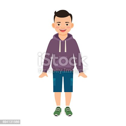 istock Boy in hoody isolated on white 694131586