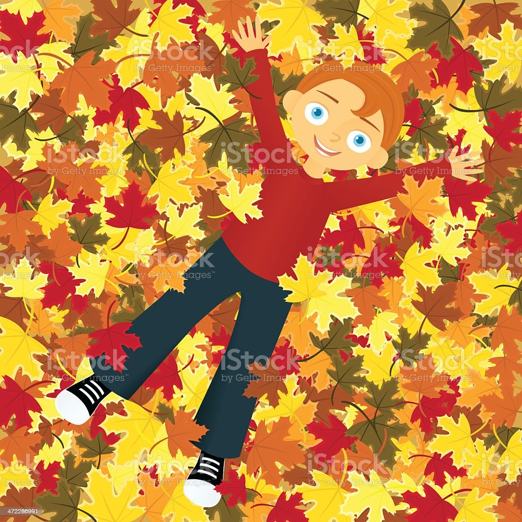 Boy in Leaves A vector illustration of a smiling boy lying in a pile of autumn leaves. Autumn stock vector