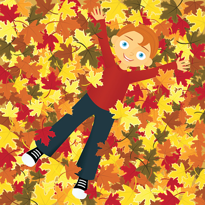 Boy In Leaves Stock Illustration - Download Image Now