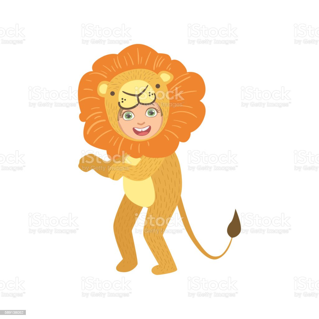 Boy In Lion Animal Costume vector art illustration