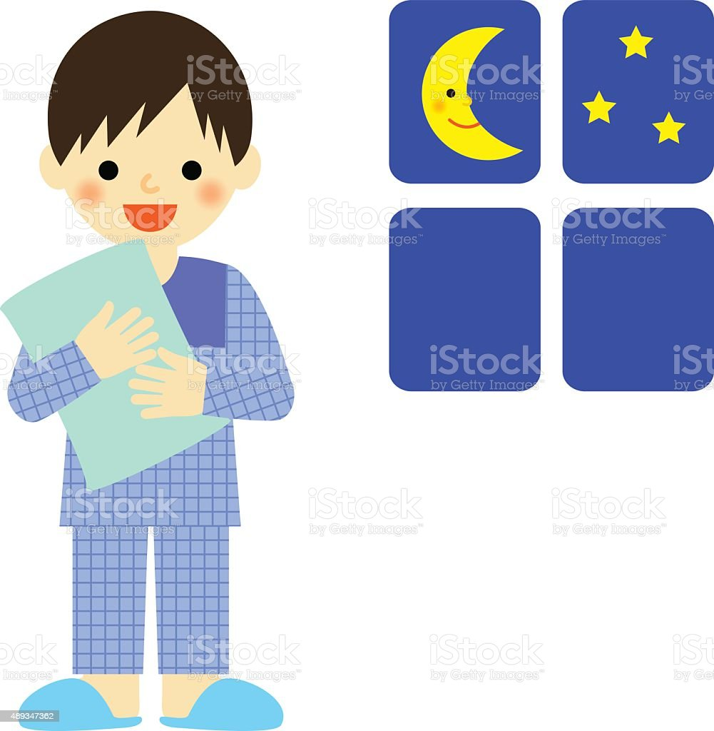 Boy in pajamas holding a pillow vector art illustration