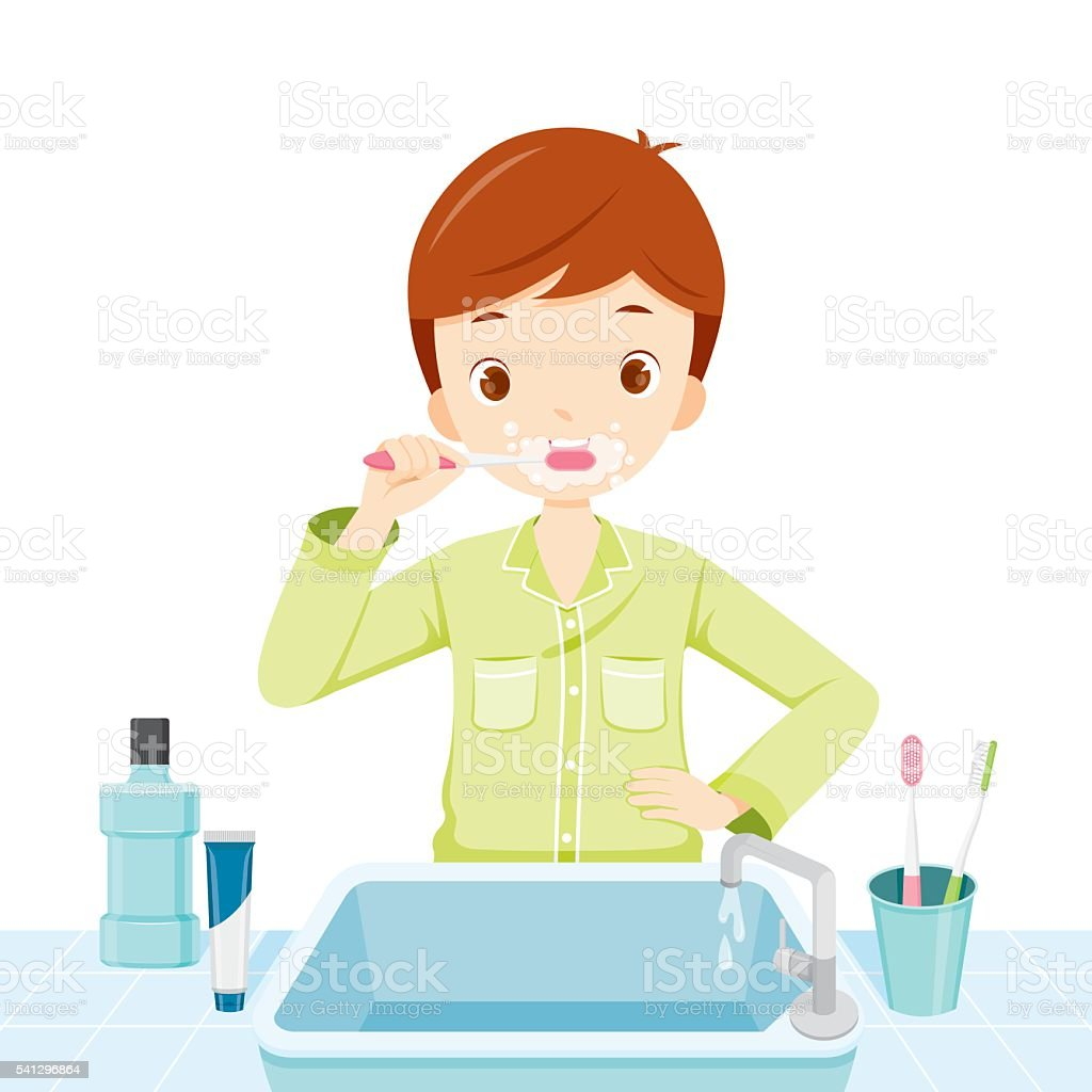 Boy In Pyjamas Brushing His Teeth In Bathroom vector art illustration