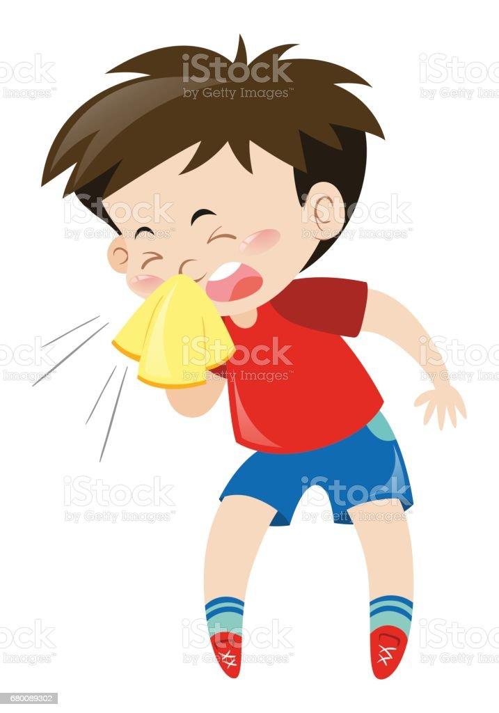 Boy in red shirt sneezing vector art illustration