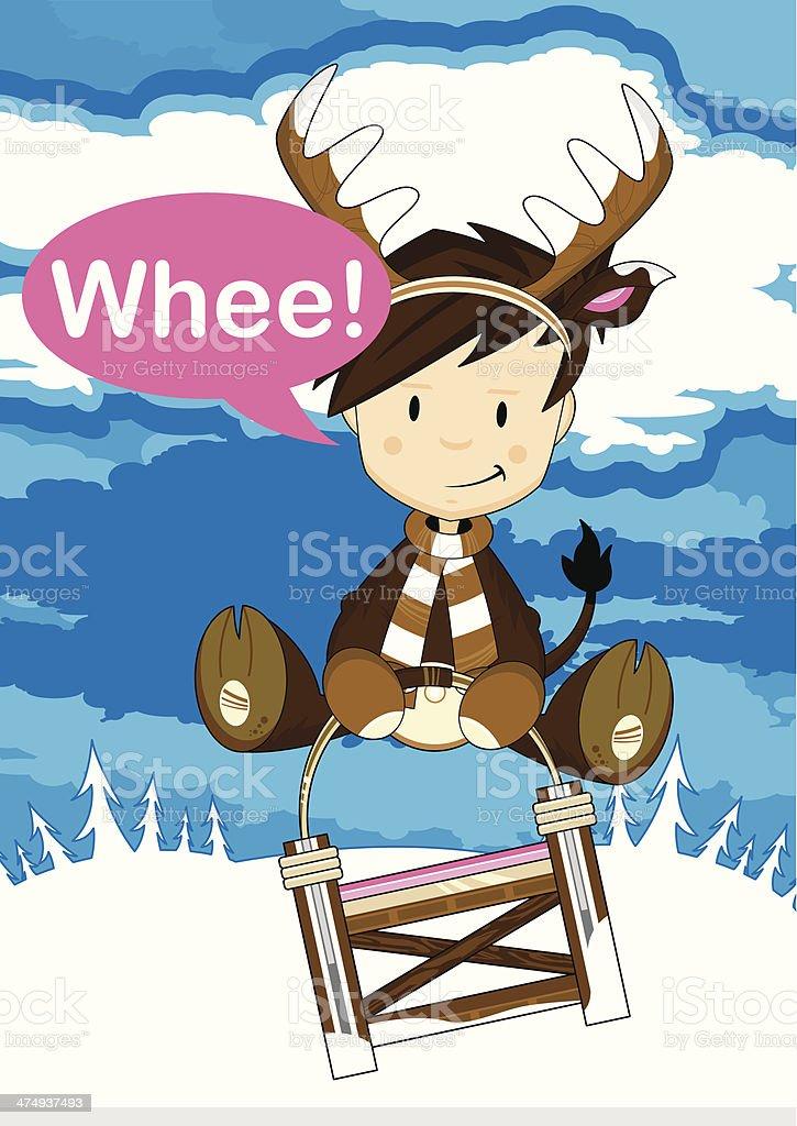 Boy in Reindeer Costume on Sledge royalty-free stock vector art