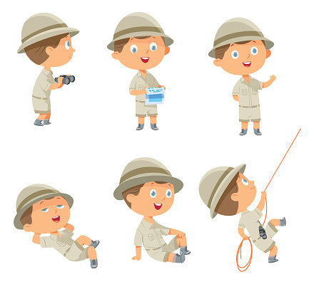 Boy in scout uniform in many poses on white