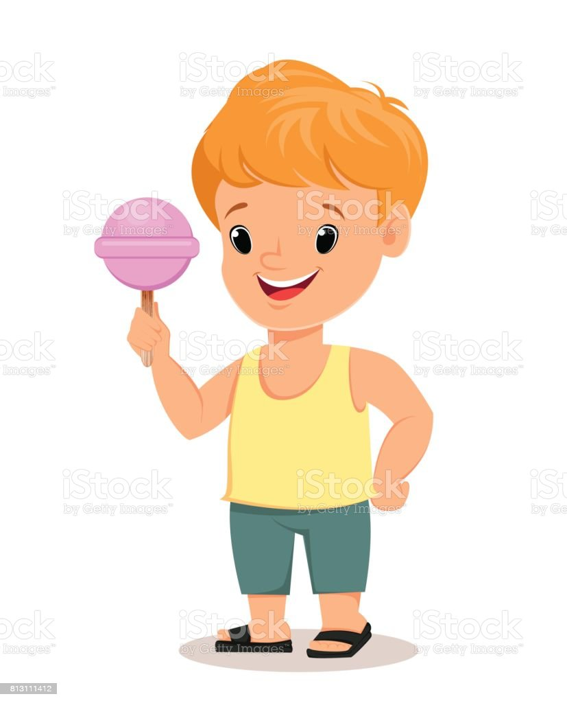 boy in shirt and shorts holds tasty candy cute cartoon character