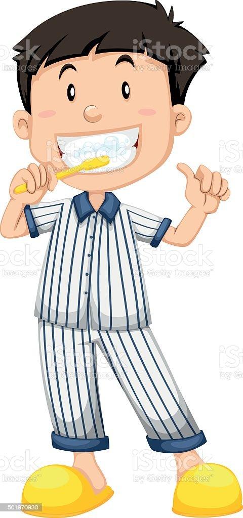 Boy in striped pajamas brushing teeth vector art illustration