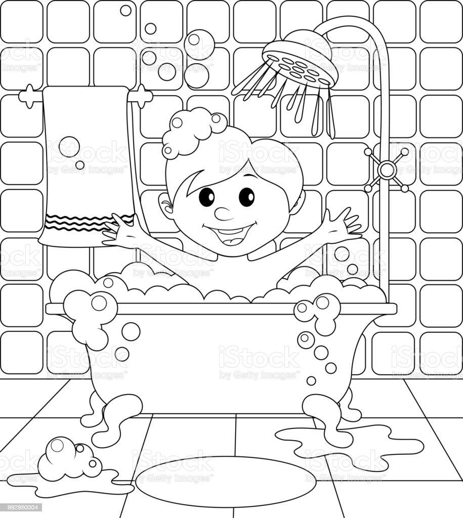 Ilustración de Muchacho En El Cuarto De Baño Ilustración ...