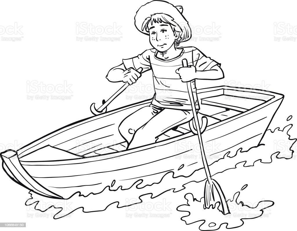 Junge im Boot – Vektorgrafik
