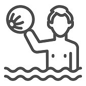 Boy in water with beach ball line icon, Aquapark concept, water games sign on white background, kid swimming in pool or in ocean with ball icon in outline style. Vector graphics