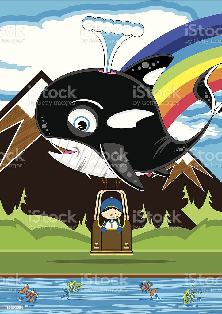 Boy in Whale Shaped Hot Air Balloon royalty-free boy in whale shaped hot air balloon stock vector art & more images of animal