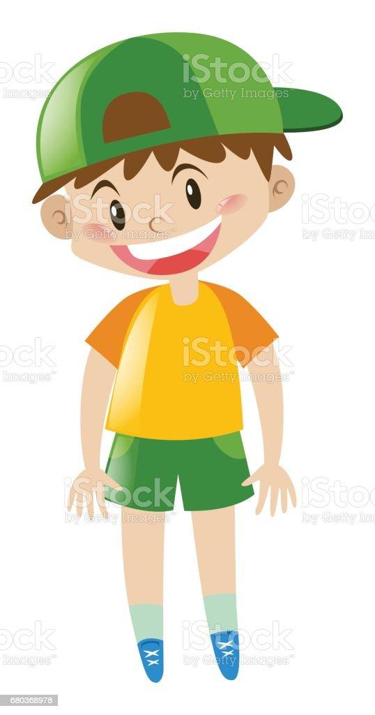Boy in yellow shirt standing royalty-free boy in yellow shirt standing stock vector art & more images of art