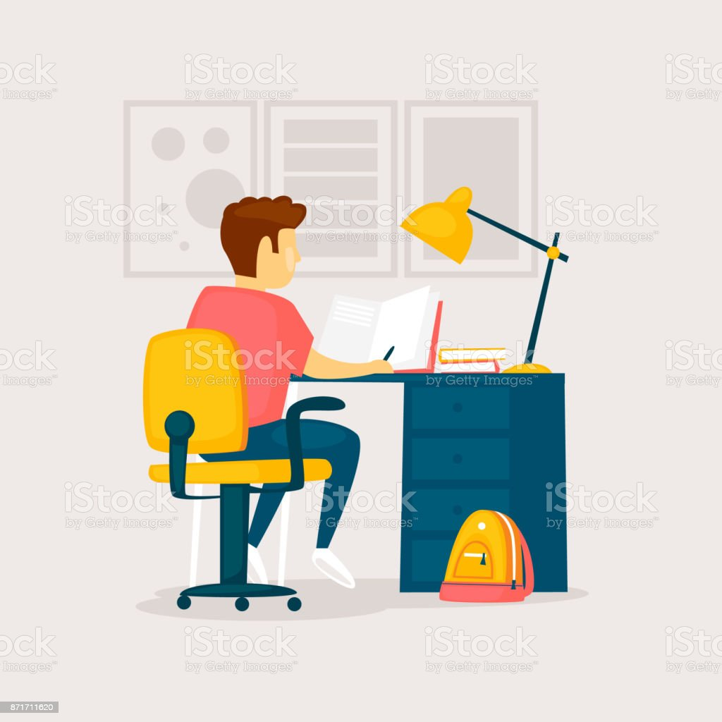 Boy is doing his homework. Flat design vector illustration. vector art illustration