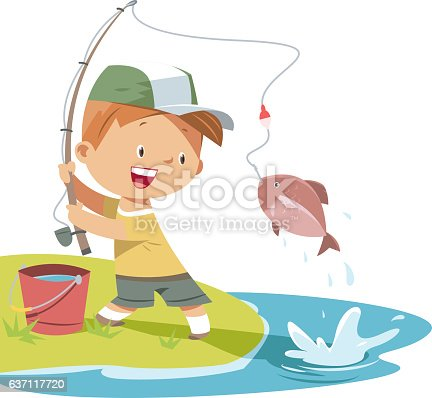 Boy is fishing