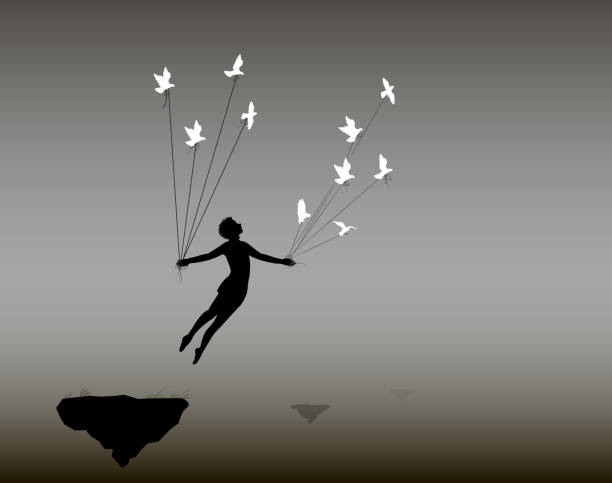 boy is flying rock and holding pigeons on flying rock, little prince, fly in the dream, shadows, life on flying rock, boy is flying rock and holding pigeons on flying rock, little prince, fly in the dream, shadows, life on flying rock, silhouette. teenage boys stock illustrations