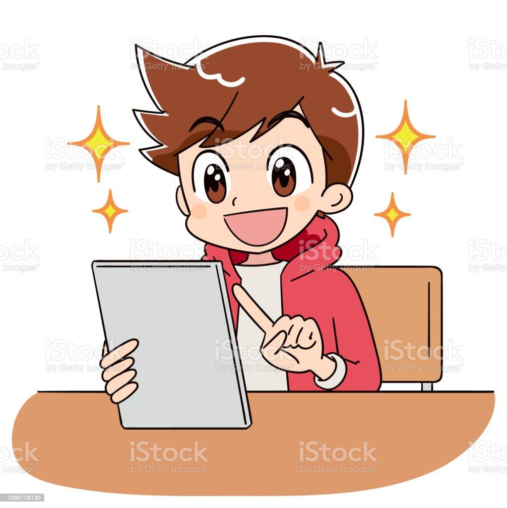 少年は、タブレット端末を営業です。彼は喜んで輝いています。 ベクターアートイラスト