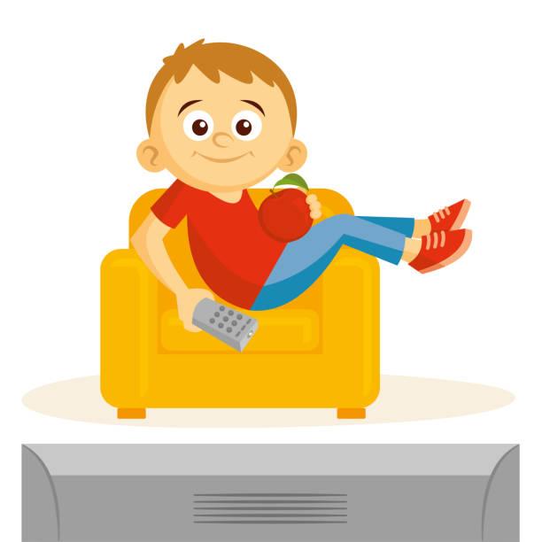 ilustrações de stock, clip art, desenhos animados e ícones de boy is watching tv vector illustration - tv e familia e ecrã