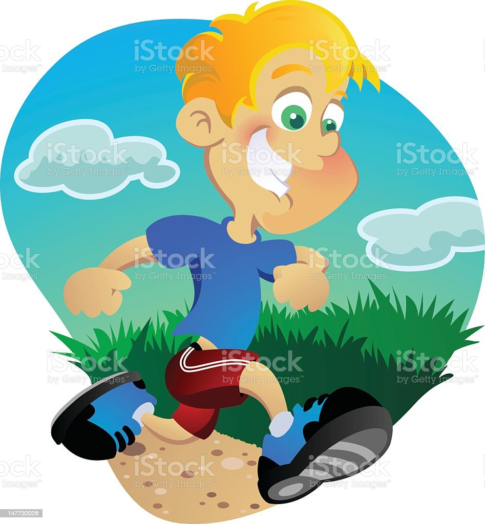 Boy Jogging Outside vector art illustration