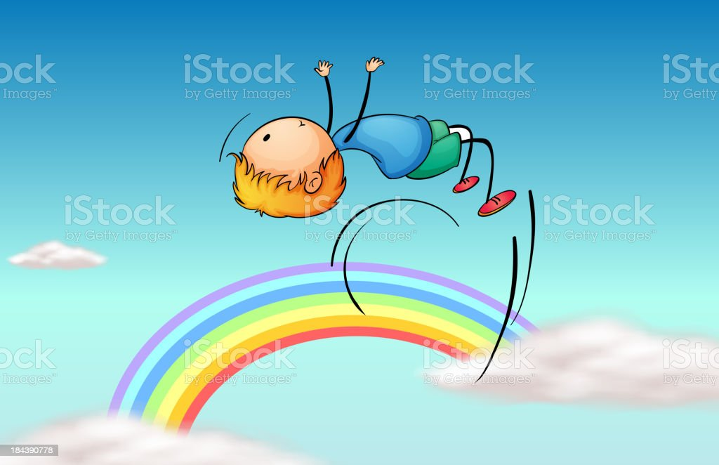 boy jumping in the sky and a rainbow vector art illustration