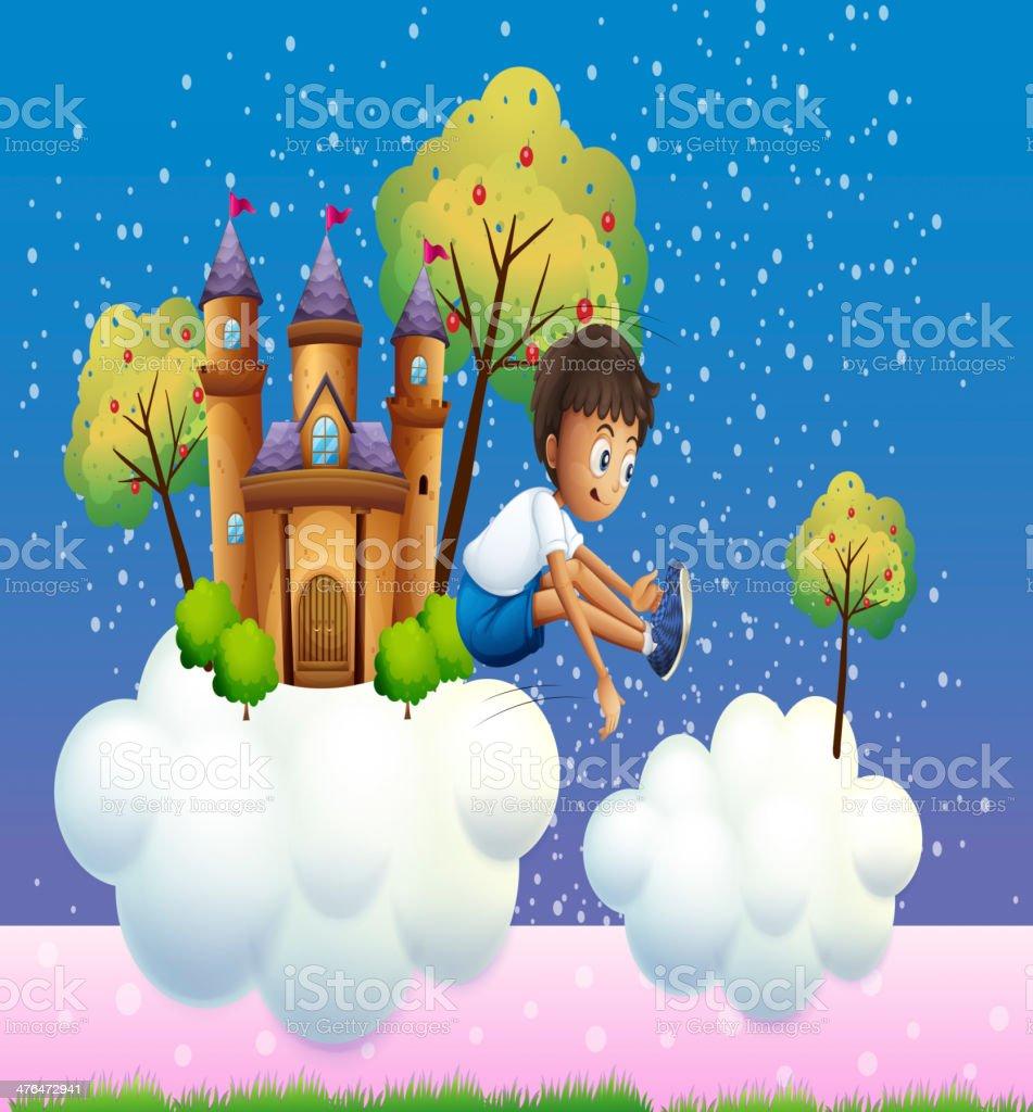 boy jumping near the castle royalty-free stock vector art