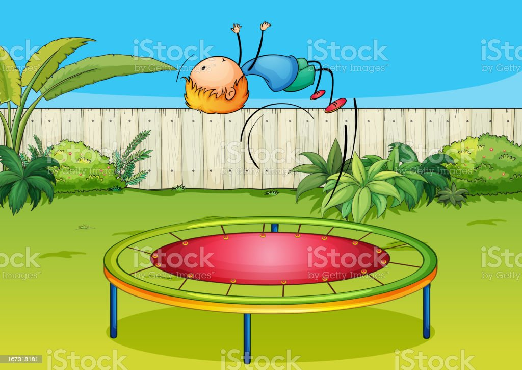 Boy jumping on a trampoline vector art illustration