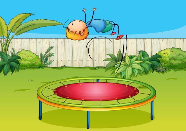 Boy jumping on a trampoline vector art illustration