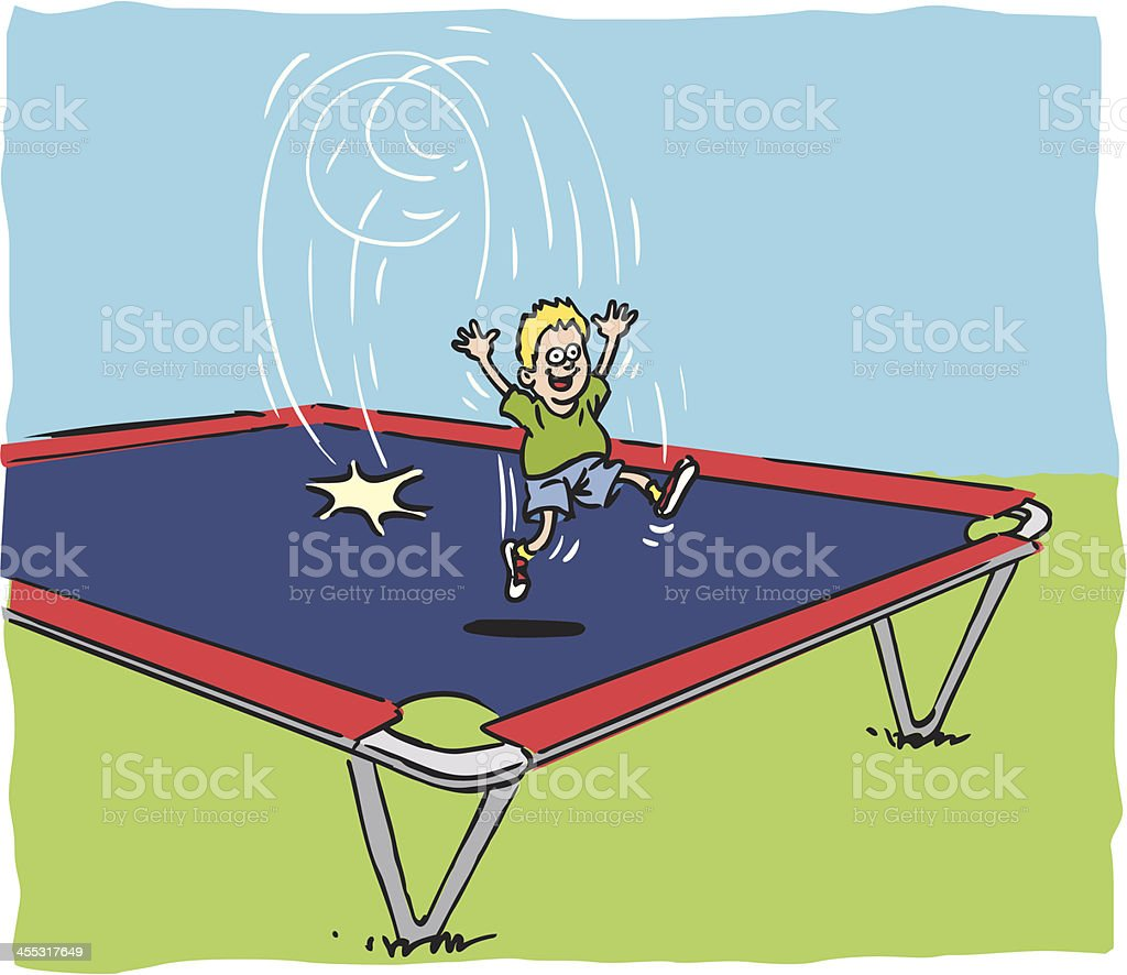 Boy jumping on trampoline vector art illustration
