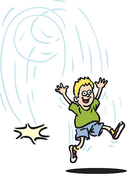 Boy Jumping vector art illustration