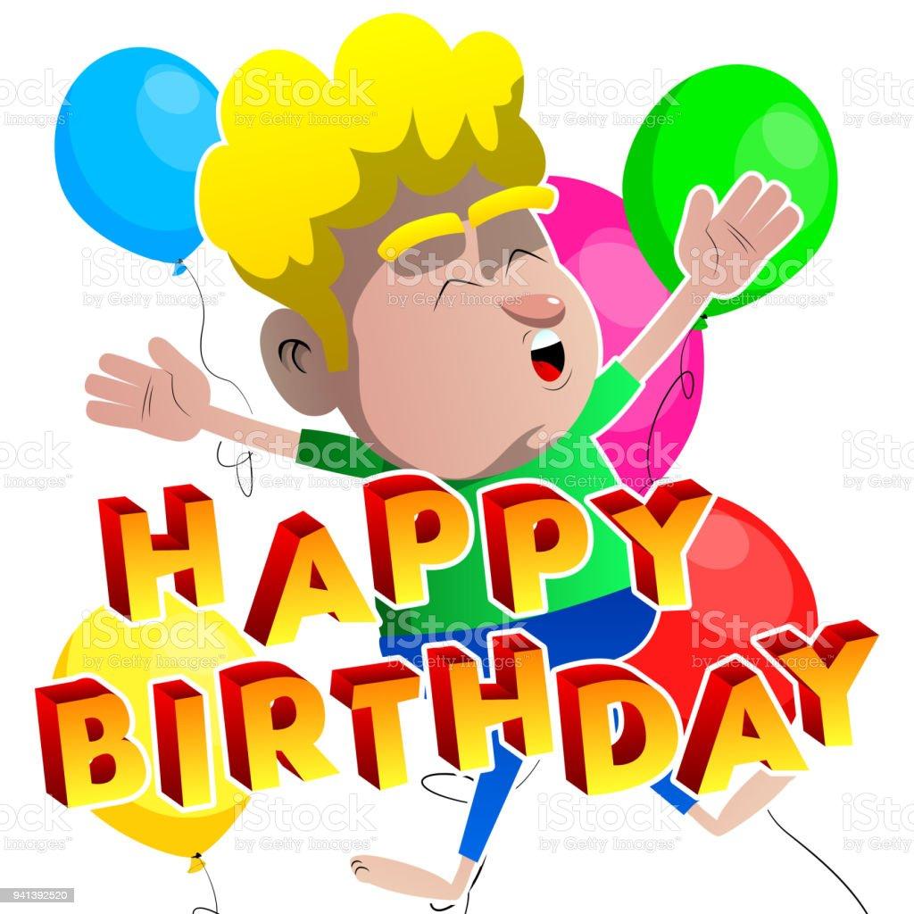 Junge Springen Mit Happy Birthday Text Vor Ihm Lizenzfreies