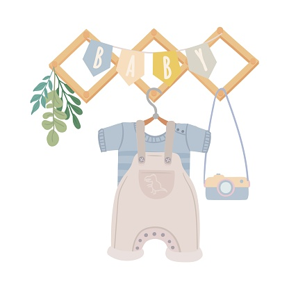Boy jumpsuit and t-shirt on hanger
