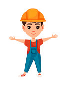 Boy kid wearing builder costume cartoon character design flat vector illustration isolated on white background.