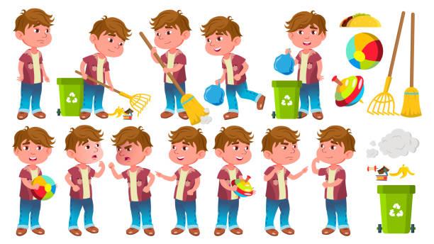 Junge Kindergarten Kind stellt Set Vector. Kleines Kind. Helfen, auf den Garten. Reinigung. Lebensstil. Für Werbung, Plakat, Print-Design. Isolierte Cartoon Illustration – Vektorgrafik