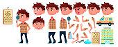 Boy Kindergarten Kid Vector. Animation Set. Emotions, Gestures. Hospital, Doctor, Disease, Sight, Fracture, Virus, Cough. Placard Design. Animated. Isolated Cartoon Illustration