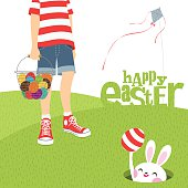 boy kite and Easter bunny