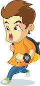 Boy Late Cartoon Vector Illustration and running