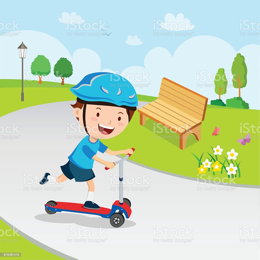 Boy learn to ride scooter vector art illustration