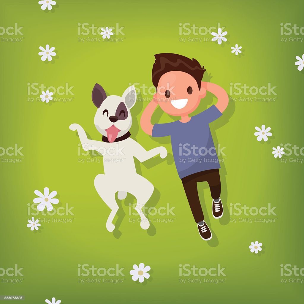 Boy lies with the dog on the lawn. Vector illustration vector art illustration