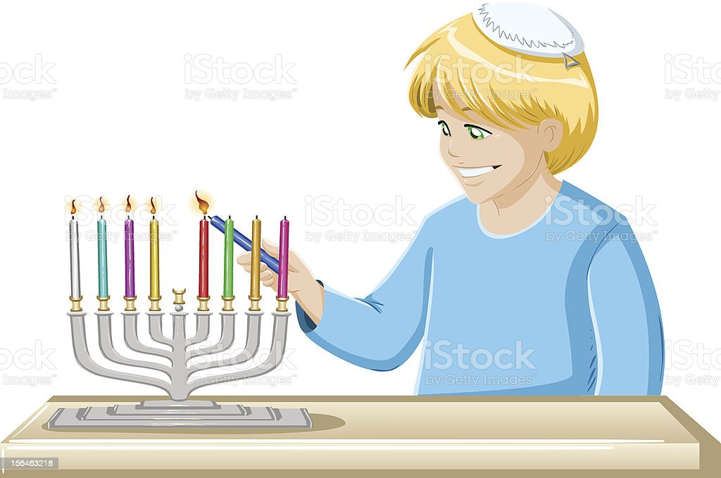 Boy Lights A Hanukkiah Candle vector art illustration