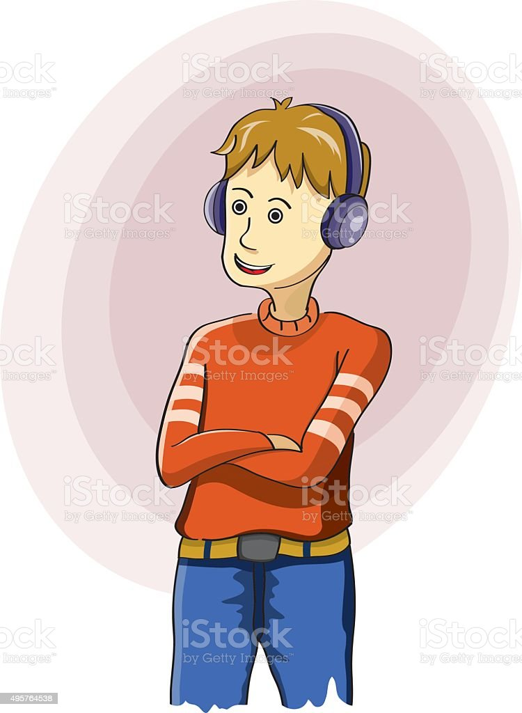 Boy Listening To Music On Headphones Stock Vector Art More Images