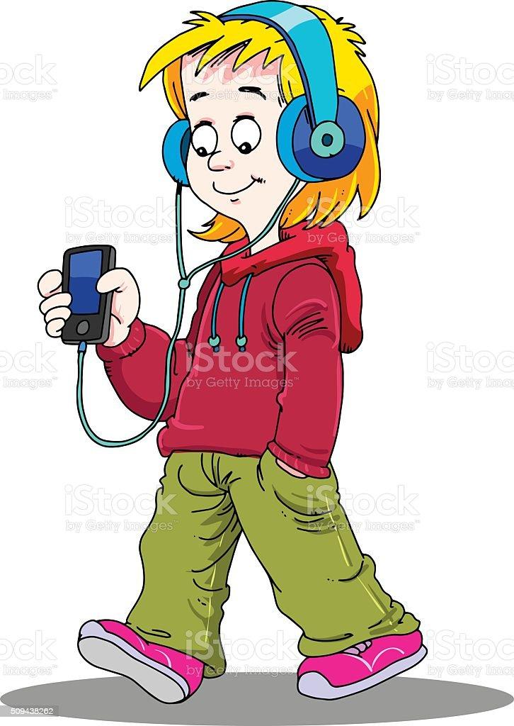 Boy Listening to Music vector art illustration