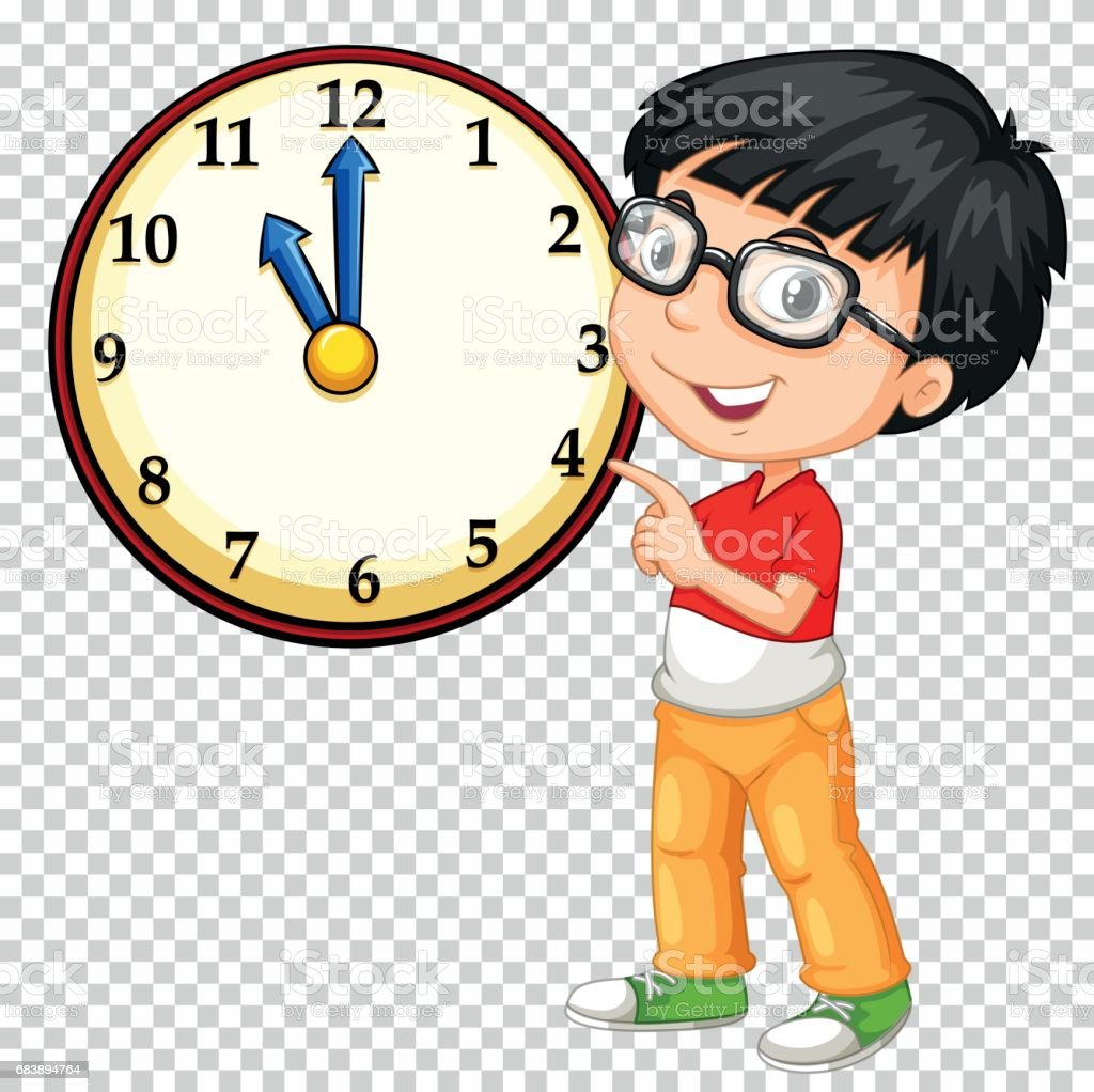 boy looking at clock on transparent background のイラスト素材