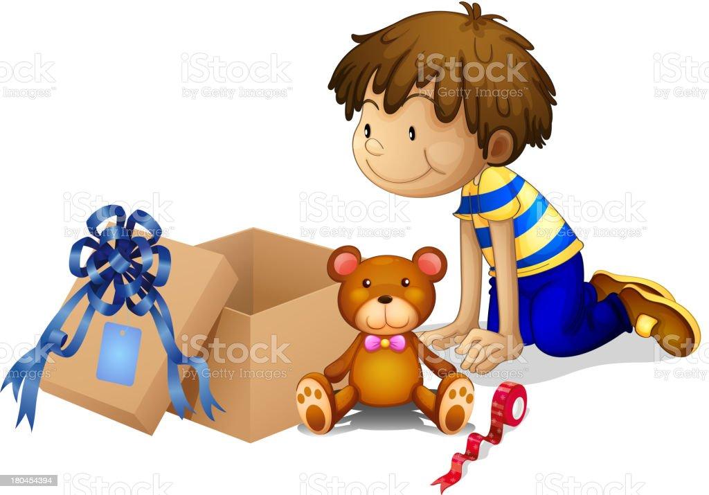 boy looking at the box royalty-free stock vector art