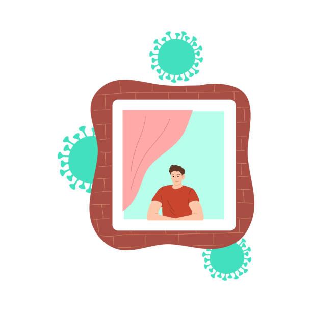 stockillustraties, clipart, cartoons en iconen met jongen die venster bekijkt en thuis voor bescherming tegen coronavirusbesmetting blijft - avondklok