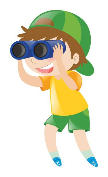 boy looking through binoculars - bird watching stock illustrations, clip art, cartoons, & icons