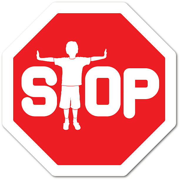 boy making a t-shape with body on a stop sign - child abuse stock illustrations
