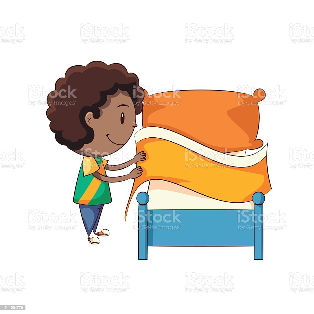 boy making bed stock vector art more images of activity 544664778 rh istockphoto com girl making her bed clipart